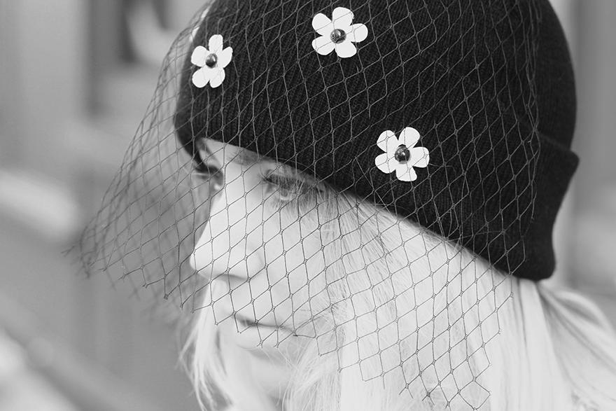 bonnet voilette fleuri
