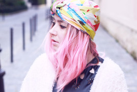 cleo ferin mercury foulard turban cheveux rose