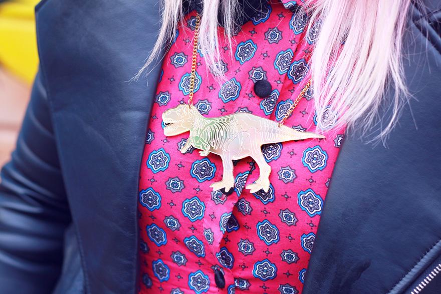 t-rex necklace mirror