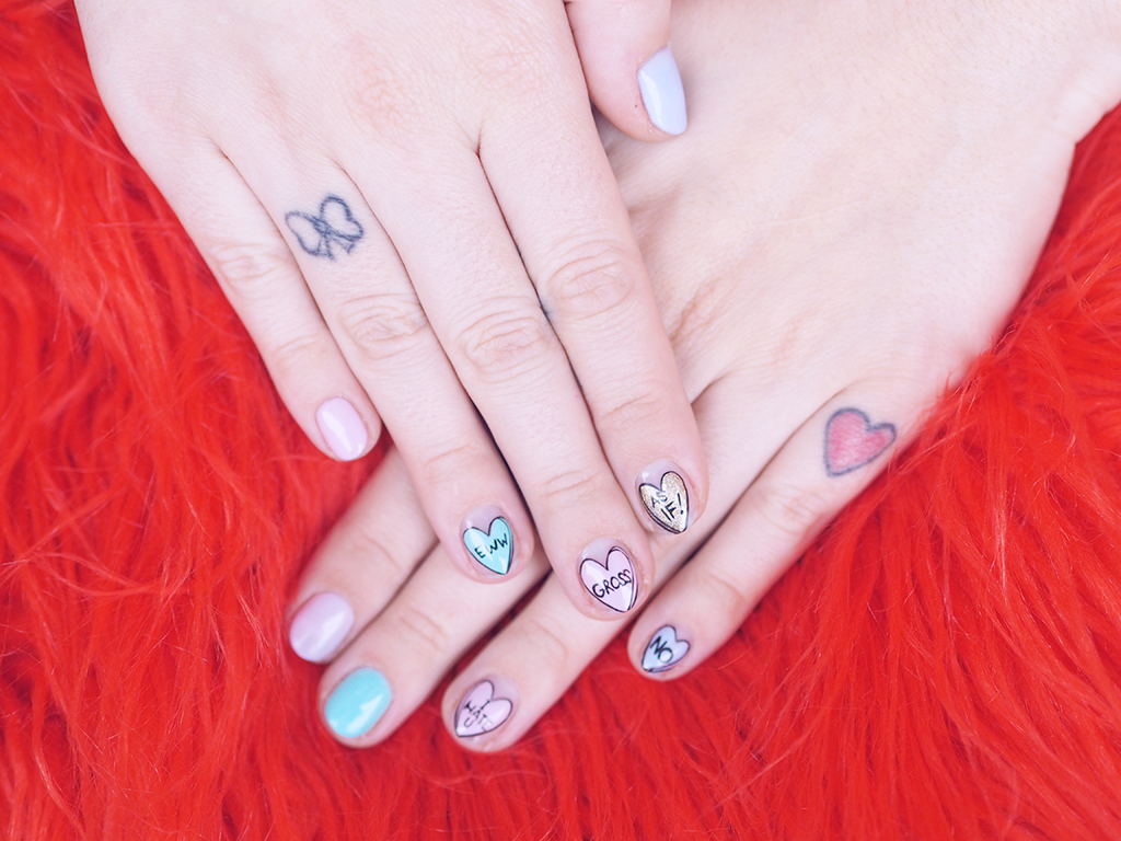 candy hearts manicure this is venice valentine's day