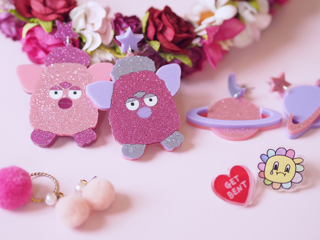 Glitter Furby Earrings