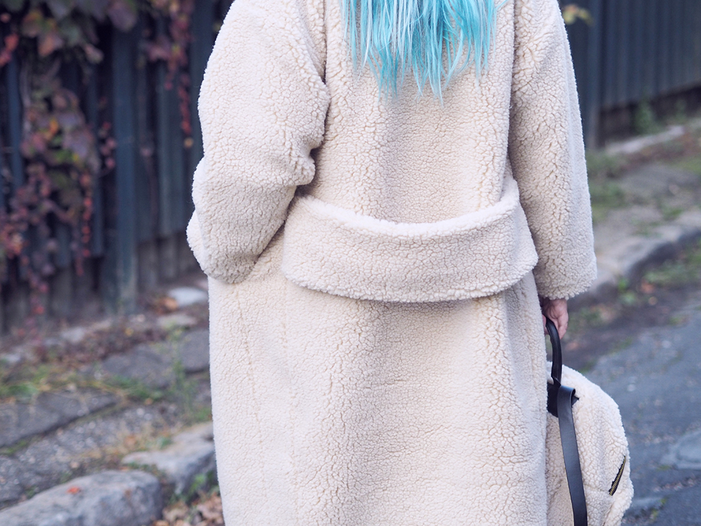 Shearling coat backpack