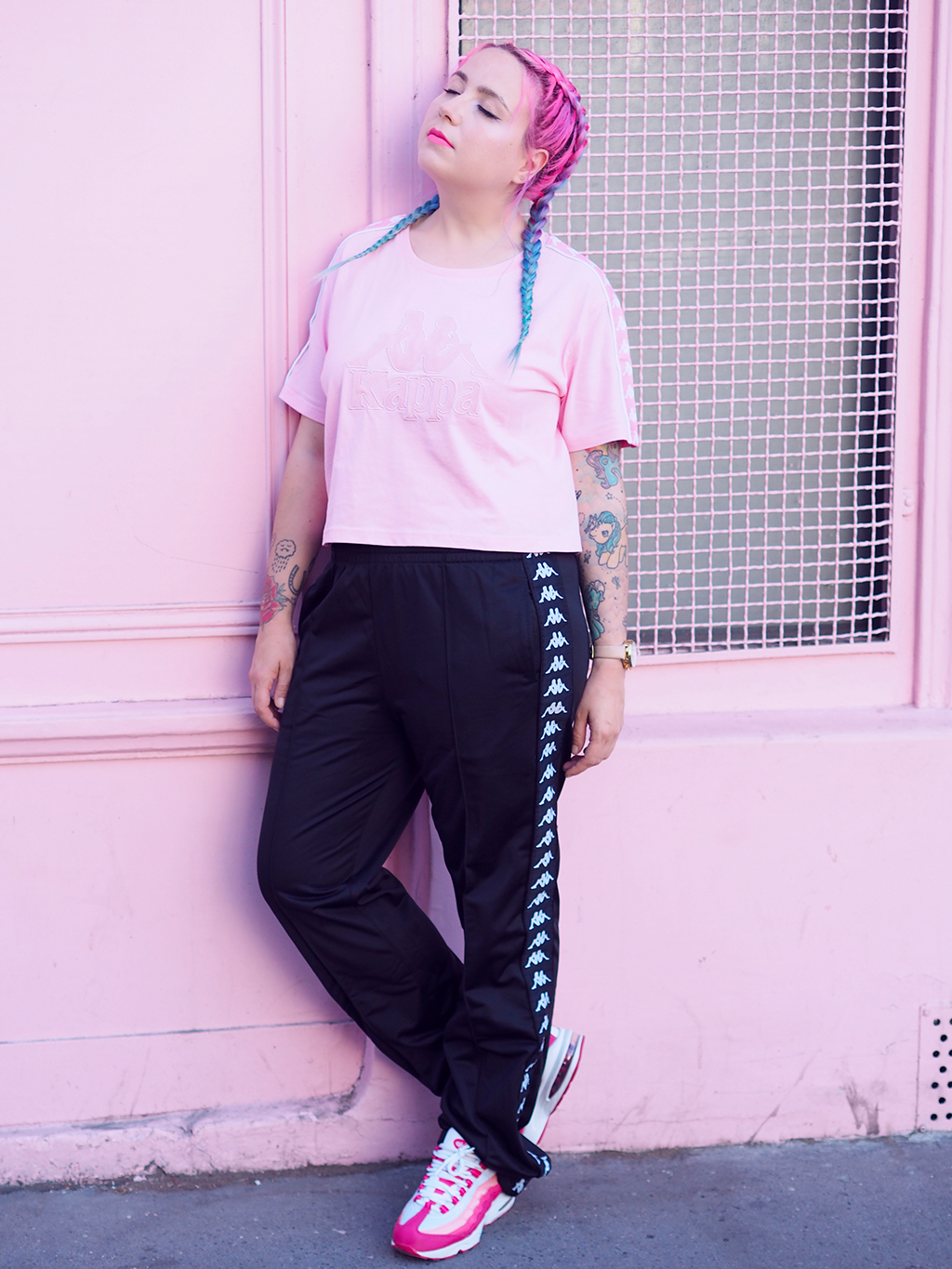 Fashion Total Kappa Look In Black And Pink Lazy Kat
