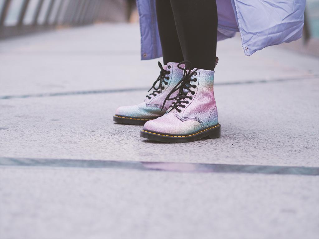 dr martens rainbow glitter
